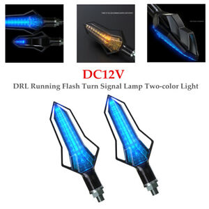 2PCS Blue LED Glass Lampshade 12V Motorcycle DRL Running Flash Turn Signal Lamp