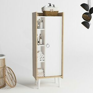 P&W Floor Storage Cabinet Bookcase Cupboard White Bathroom, Living room, Bedroom