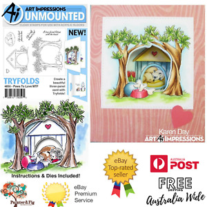 Cat & Dog Stamps, Paws to Love Mini Tryfolds, Cat, Dog, Kennel - Art Impressions
