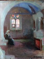 Adolphe Gumery (1861-1943), Bretonne dans une église, huile sur toile, années 20