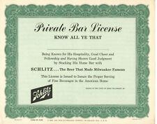 Vintage 1960 Schlitz Beer 'Private Bar License'! Certificate Great For Framing!