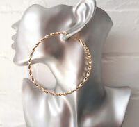 Gorgeous 8cm gold tone oversized TWISTED style hoop earrings * NEW * #3