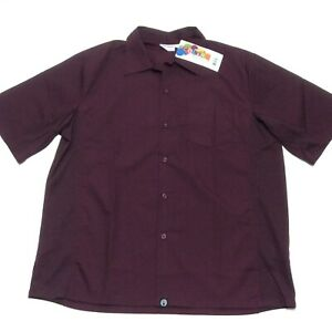 Chef Works Color Mens Cook Shirt Cool Side Vents Size Large Merlot Burgundy