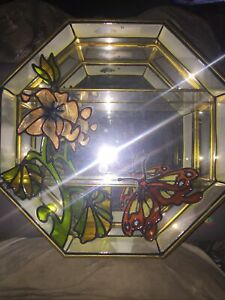 Vintage Small Glass Wall Hanging Curio Cabinet Flower and butterfly