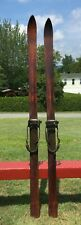 "ANTIQUE 'Chalet' Wooden Skis 71"" Long Lots of Leather SNOW GREAT!"