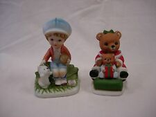 2 Homeco Figurines Boy With Cat And Teddy Bears