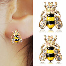 2019 Jewelry Enamel Rhinestone Bumble Bee Crystal Earrings Animal Ear Stud S31