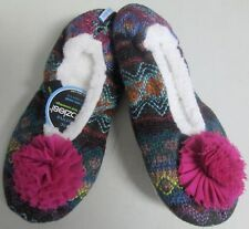 909f5df1136 NEW WOMEN S SNOOZIES SLIPPERS AZTEC BALLERINA STYLE w PINK POMS SZ ...