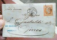 1861 279) LETTERA DA MARSIGLIA A GENOVA VIA DI MARE FRANCOBOLLO CENT. 40 YT n.16