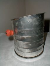 Nesco USA  5 Cup Visible Measure Tin Metal Flour Sifter w Red Wood Handle-1940s