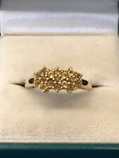 9ct Yellow Gold Citrine Cluster Ring Size Q