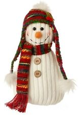 Raz 10-inch SNOWMAN PLUSH weighted bottom shelf sitter Christmas decor