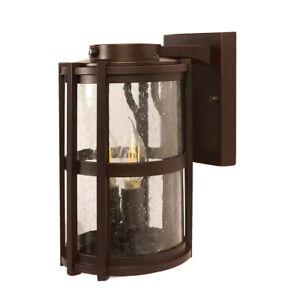 "Feit Elec, 11"" LED Round Coach Light Outdoor Bronze Wall Lantern w Seeded Glass"