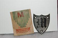 NOS 1920's-1930's Monogram Junior Metal Motometer Cap Shield Letter M Bright