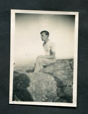 C1920s Original Photo: Man Sitting on a Rock, Exmoor