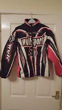 "Men/Womens Biker Jacket - MotoX - Wulfsport Rampage - Black/White/Pink - 34"""