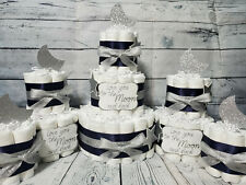 3 Tier Diaper Cake and sets - Love you to the Moon and Back Silver Navy Theme