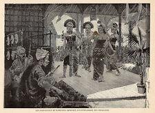 PARIS EXPO UNIVERSELLE ESPLANADE INVALIDES DANSEUSES KAMPONG JAVANAIS IMAGE 1889