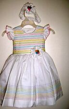 Handmade White Baby girls dress – Hand Stripes embroidered - Multicolor-24M