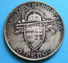 5 Pengo Ungheria 1938 Centenario morte di St. Stefano - Argento  -nr  646