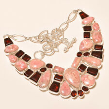 116 Gm Natural Rhodochrosite Cab,Garnet Cut Silver Overlay Necklace Ss-517