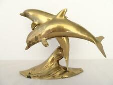 Vintage Brass PairJumping Dolphins Porpoises Sculpture Figurine