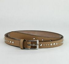 $495 Gucci Studded Caramel Brown Leather Belt w/silver Buckle 85/34 380561 2754