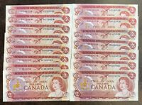 CANADA 2 DOLLARS 1974 BC47a LAWSON BOUEY - LOT OF 15 different prefixes UNC
