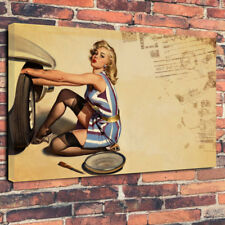 """""""Changing a Wheel"""" Pin Up Sexy Lady Printed Canvas Picture A1.30""""x20"""" 30mm Deep"""