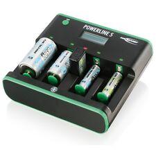 Ansmann Powerline 5 Zero Watt Smart Battery Charger Nimh Nicd AA AAA C D 9 Volt