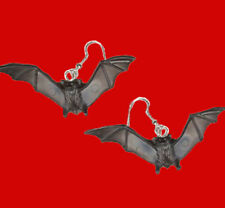 Funky Flying BLACK BAT EARRINGS Dracula Vampire Gothic Halloween Costume Jewelry