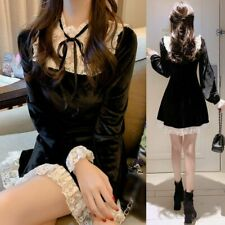 Women Lace Velvet Dress Ruffle Frill Gothic Black Mini Retro Lolita Party dress