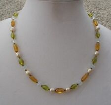 Glass Beads with Ivory Bumpy Pearls Handmade Necklace of Yellow, Green and Clear