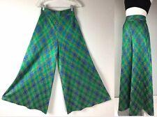 Vtg 60s 70s Wide Leg Palazzo Plaid Metallic Lurex Pants High Waist Maxi Skirt S