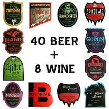 Halloween Haunted House 48 BEVERAGE BOTTLE LABELS Self-Stick ~ 40 Beer + 8 Wine