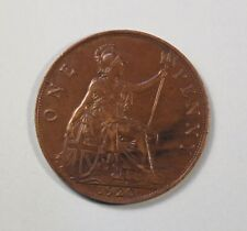 1920 Great Britain 1 One Penny Bronze World Coin King George Trident UK England