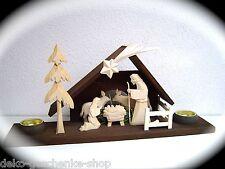 madera NACIMIENTO TALLADO EN 44cm CHRISTI con 2 PORTAVELAS 2 COLORES 63009