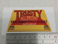 Trusty Tractor decal  vintage garden tractor