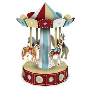 3-D Vintage Circus Carousel Centerpiece 10-inch Circus Birthday Party Decoration