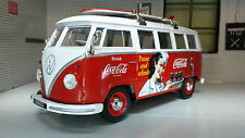 VW T1 Bus SurfBoard 1962 Welly 1:24 LGB G Scale Diecast Model 22095 Coca Cola