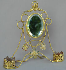 Antique French Gilded Brass Pocket Watch Holder Stand - Mirror Clover 19th.c