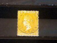 St Vincent 1890 SG56 4d Yellow FU. B(3411)