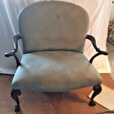 Chippendale style wide/ big person chair with turquoise upholstery
