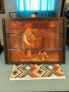 """ARTIST LEE DUBIN ANTIQUE PAINTING """"BILLY"""" A REPRODUCTION ON OLD WOOD PLANKS"""