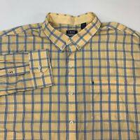 IZOD Button Up Shirt Mens 2XL XXL Yellow Blue White Long Sleeve Check Pocket