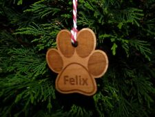 Personalised Cat / Dog Paw Print Christmas Tree Decoration   Bauble Gift Name