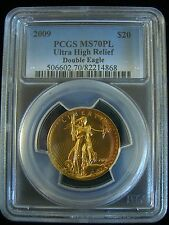 2009 $20.00 ULTRA HIGH RELIEF GOLD DOUBLE EAGLE PCGS MS 70PL PROOFLIKE w/BOX COA