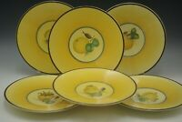 ROYAL COPENHAGEN DENMARK ALUMINIA FRUIT BELLONA  YELLOW PLATES SET OF 6