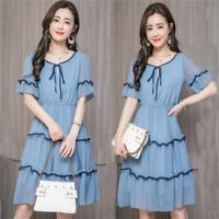 Summer Womens Short Sleeve Chiffon Empire Waist Tunic Casual A Line Party Dress