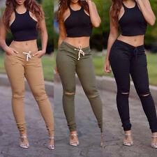 Femme Taille Haute Skinny legging élastique trou Gym Pantalon crayon